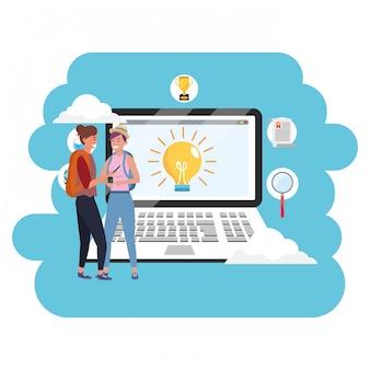 Laptop de estudante milenar de educação on-line