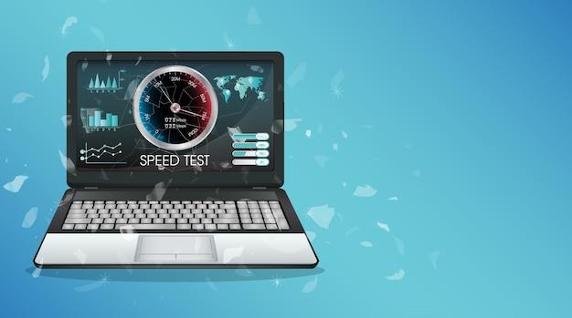 Laptop de exibição quebrado usando o teste de velocidade de internet