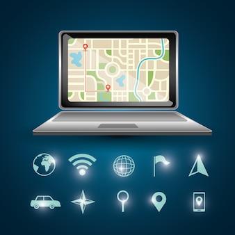 Laptop de navegação por gps