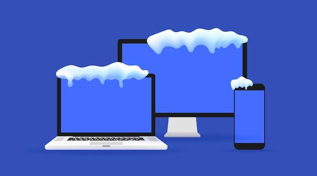 Laptop de vetor realista, computador tablet, monitor e modelo de telefone móvel com tampa de neve. maquete de gadgets de inverno. venda de inverno e conceito de apresentação.