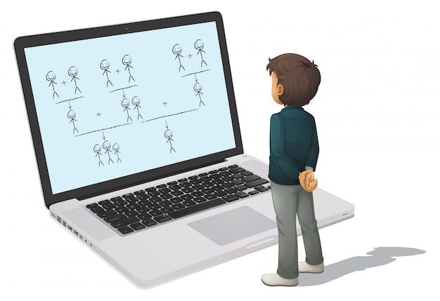 Laptop e homem