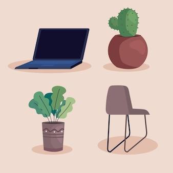 Laptop e plantas