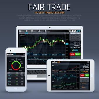 Laptop e smartphone com mercado de negócios app. cartas financeiras e conceito de vetor de moeda de troca. ilustração de troca de gráfico de dados de negócios, estoque financeiro no laptop