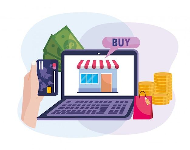 Laptop eletrônico e mão com cartão de crédito para compras on-line