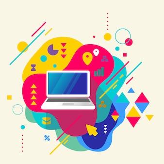 Laptop em abstrato colorido fundo manchado com elementos diferentes.