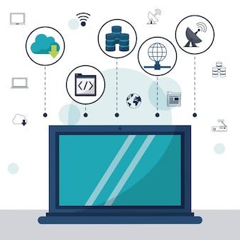 Laptop em closeup e ícones de armazenamento em rede no topo