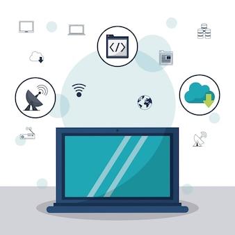 Laptop em closeup e ícones de comunicação e ícones de rede