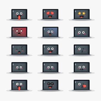 Laptop fofo com conjunto de emoticons
