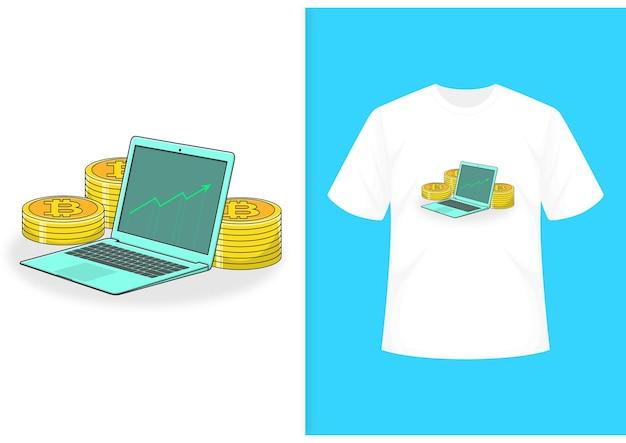 Laptop fofo e personagem de moeda com modelo de camiseta