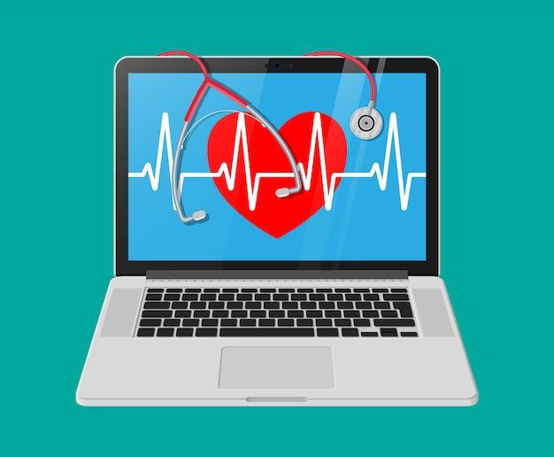 Laptop, forma de coração com linha de pulso, estetoscópio