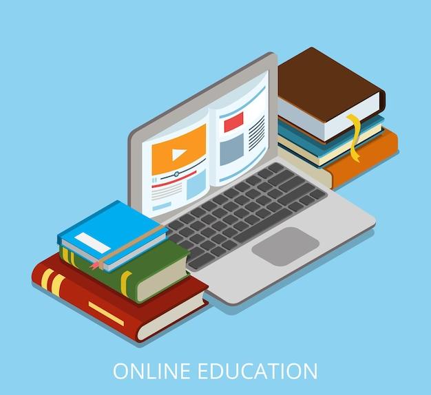 Laptop isométrico plano com livro na ilustração da tela. curso de educação on-line de isometria e conceito de conhecimento.