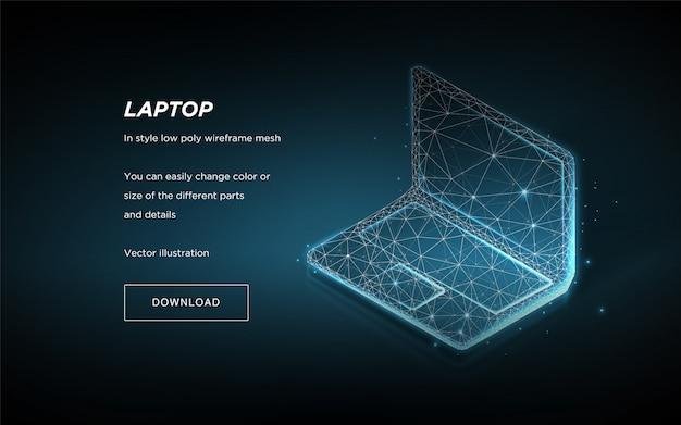 Laptop isométrico sobre fundo azul,