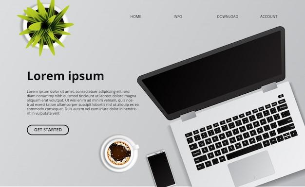 Laptop limpo simples na mesa com telefone, café e ilustração da planta.