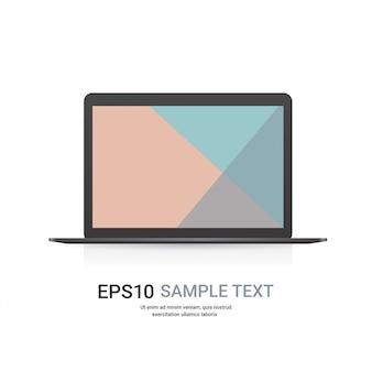 Laptop moderno com maquetes e dispositivos realistas com tela colorida