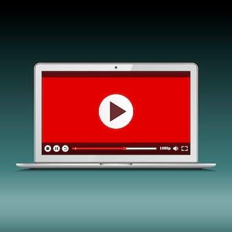 Laptop moderno com reprodutor de vídeo na tela
