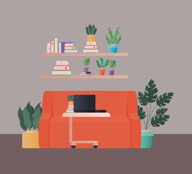 Laptop na mesa na frente do sofá laranja e prateleiras com design de livros e plantas, decoração de interiores de apartamento em prédio residencial e tema residencial
