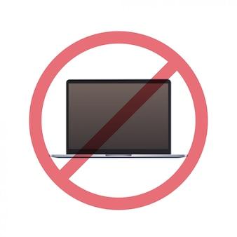 Laptop no conceito de desintoxicação digital de sinal de proibição não use computador