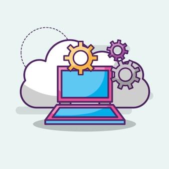 Laptop nuvem armazenamento armazenamento trabalho digital