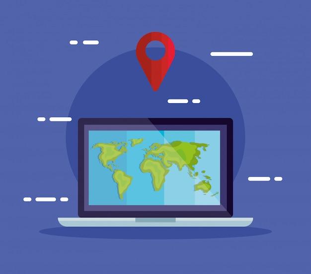 Laptop para rastreamento do serviço de logística de entrega