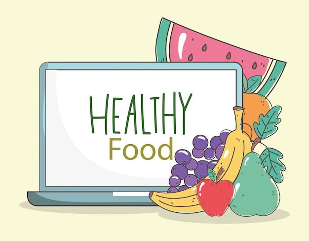 Laptop, pera fresca, uvas, maçã, cenoura, e, melancia, orgânica, alimento saudável, com, frutas, legumes, ilustração