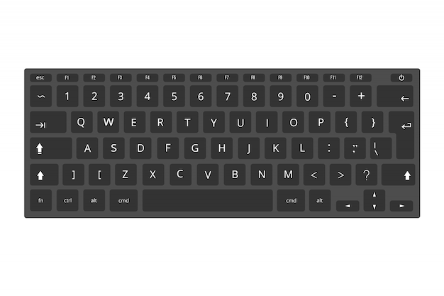 Laptop preto, modelo de teclado de computador isolado no branco