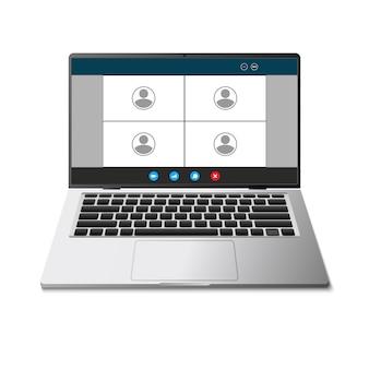 Laptop realista com interface de videoconferência, tela de bate-papo com vídeo ao vivo