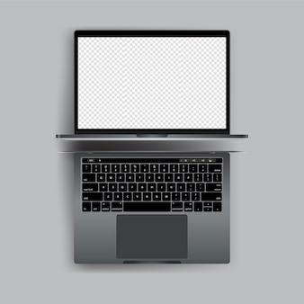 Laptop realista com vetor de tela em branco