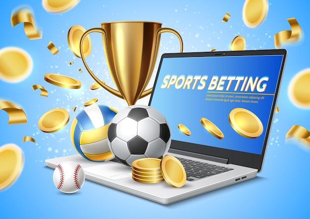 Laptop realista de apostas esportivas online com bolas de troféu de taça de ouro e moedas de ouro voando para longe Vetor Premium