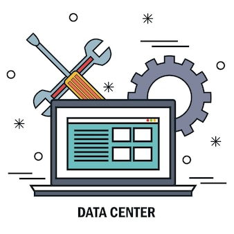 Laptop suporte servidor centro de dados de trabalho isolado