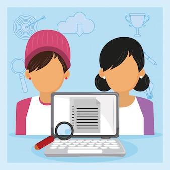 Laptop, verificar, empregadores, cv, em, entrevista trabalho