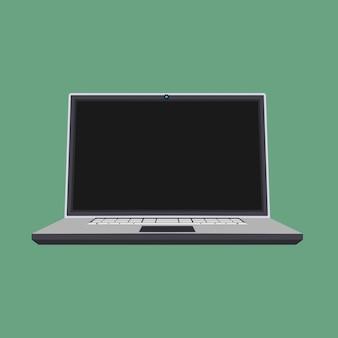 Laptop vista frontal vector ícone negócios tela em branco