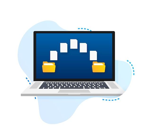 Laptops de transferência de arquivos com pastas na tela e documentos transferidos