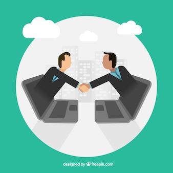 Laptops e handshake com design plano