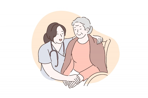 Lar de idosos, hospital, conceito de cuidados paliativos.
