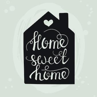Lar doce lar cartaz de tipografia desenhada de mão. frase manuscrita conceitual casa e família