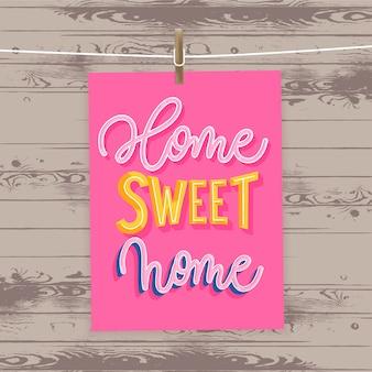 Lar doce lar - cartaz moderno letras.