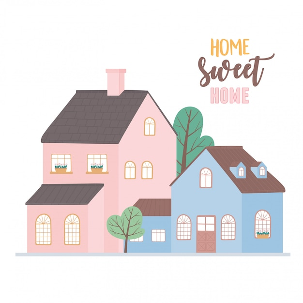 Lar doce lar, casas rua de bairro de arquitetura urbana residencial