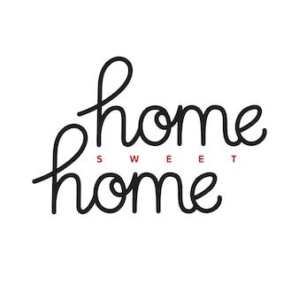 Lar doce lar. citação de rotulação de mão desenhada. modelo de cartaz. frase de tipografia vector.