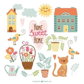 Lar doce lar desenhos animados bonitos