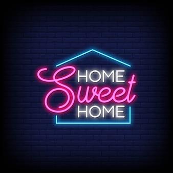 Lar doce lar para pôster em estilo neon