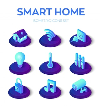Lar inteligente. conjunto de ícones 3d isométrico. sistema de controle remoto da casa. iot