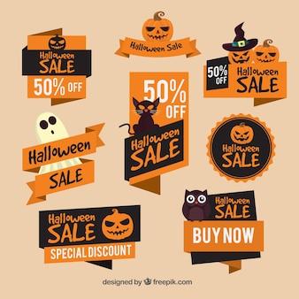 Laranja adesivos de venda com elementos de halloween