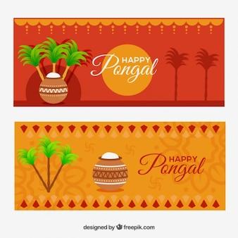 Laranja banners pongal