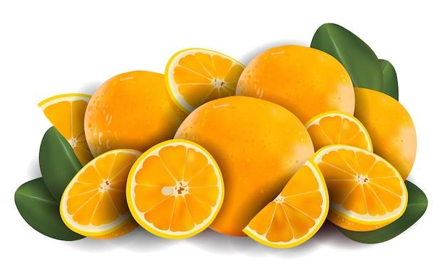 Laranja com folha verde. frutas frescas de laranja
