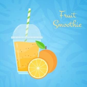 Laranja crua fruta saborosa smoothie promo web banner
