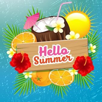 Laranja de coco de tempo de verão com fundo de risco
