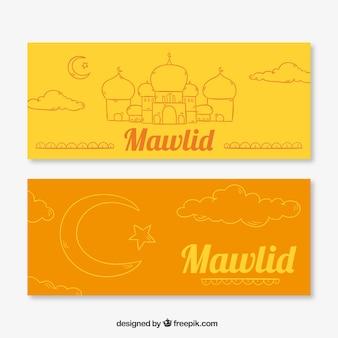 Laranja e bandeiras amarelas mawlid