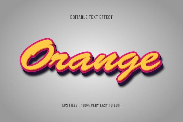 Laranja - efeito de texto premium, texto editável