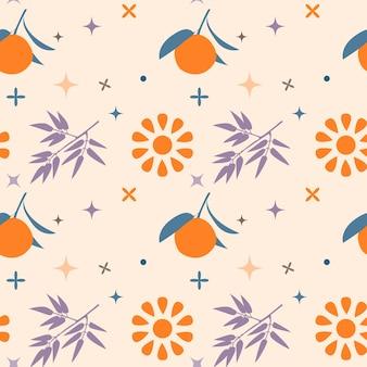 Laranja em um galho e clima ensolarado citrus seamless pattern para design de papel de parede de papel de embrulho