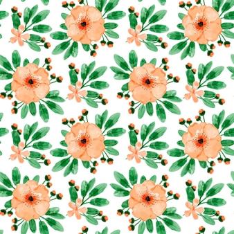 Laranja floral aquarela sem costura padrão
